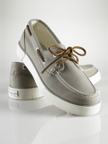 932c5742a Sander Canvas Boat Shoe with leather. Classic style