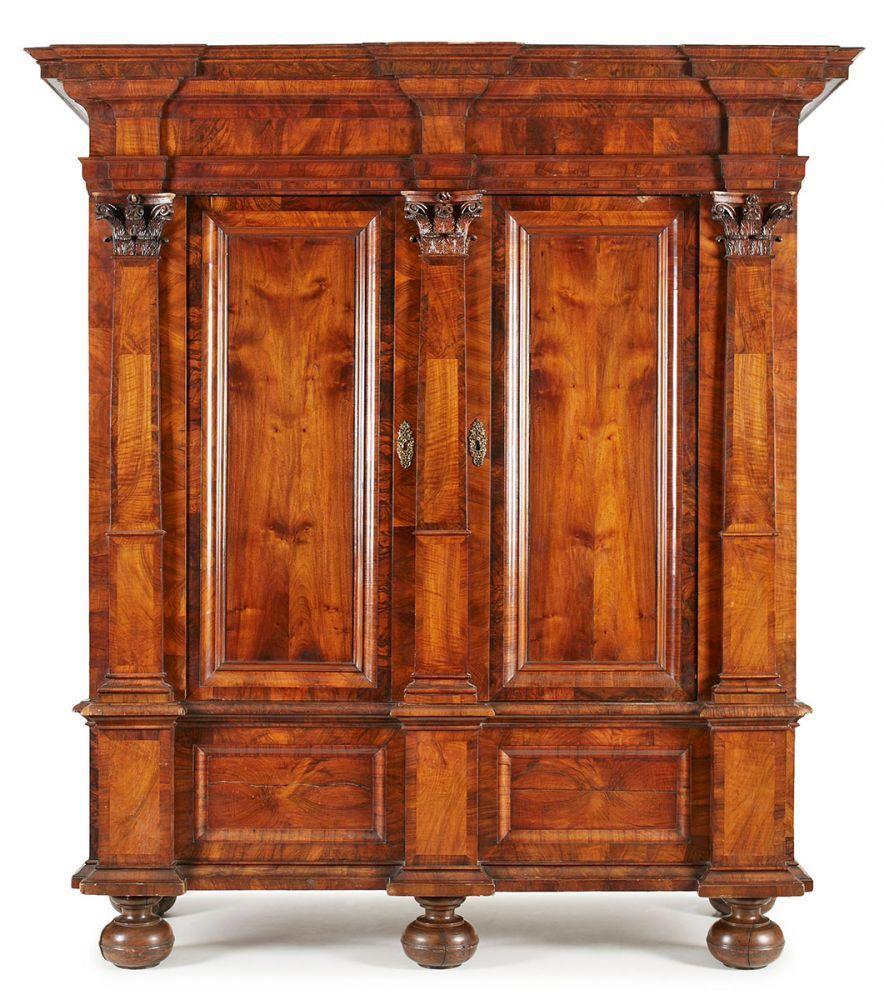 Barock Pilasterschrank S Ddt Um 1720 Nussbaum Massiv U Furn  # Muebles Giulani