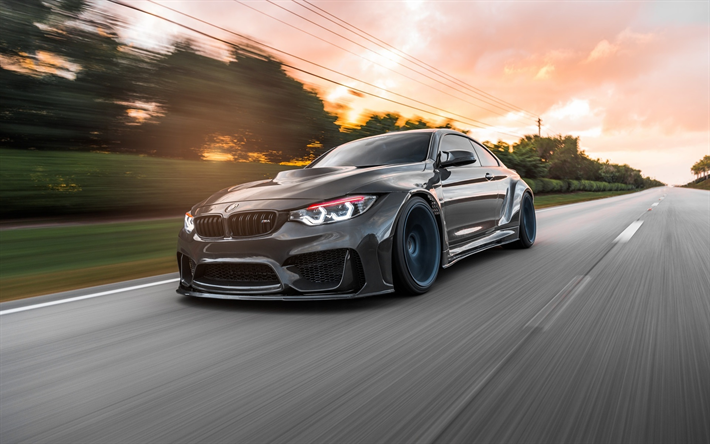 Download wallpapers F82, BMW M4, stance, motion blur, 2018