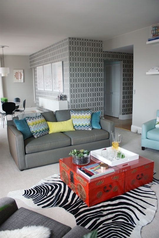 Nice Grey Yellow Blue Living Room (love That Wallpaper) By Cindy Louise Part 31