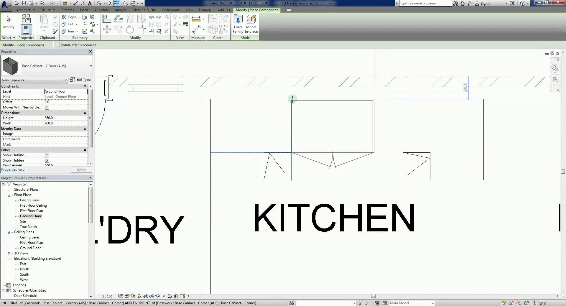 Revit 2016 Project B 17 Adding Kitchen Casework Or Joinery Revit Architecture Joinery Ads