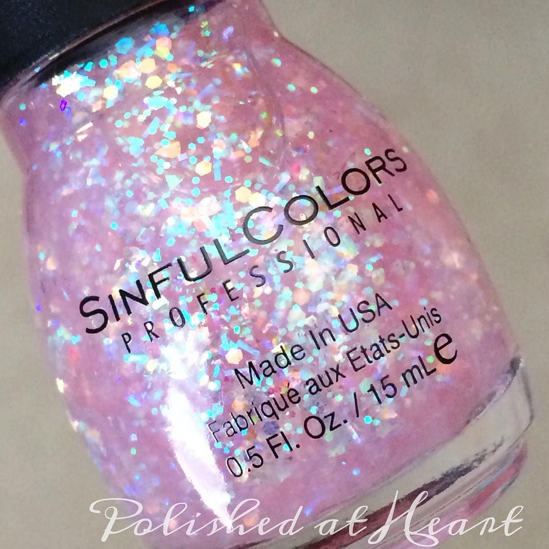 """These glitter from @sinfulcolors_official though! ✨ this is Sinful Sunrise more iridescent goodness. #AClassAct #SinfulColors #sinfulsunrise #notd…"""