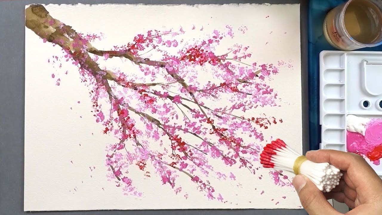 Cherry Blossom Tree Acrylic Painting Technique Cherry Blossom