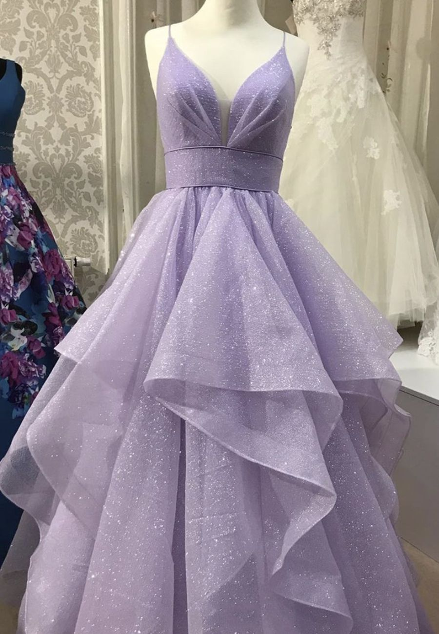 Purple Tulle Long Prom Dress Purple Evening Dress