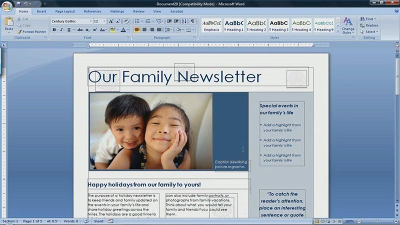 how to create a newsletter in microsoft word 2007 videos that