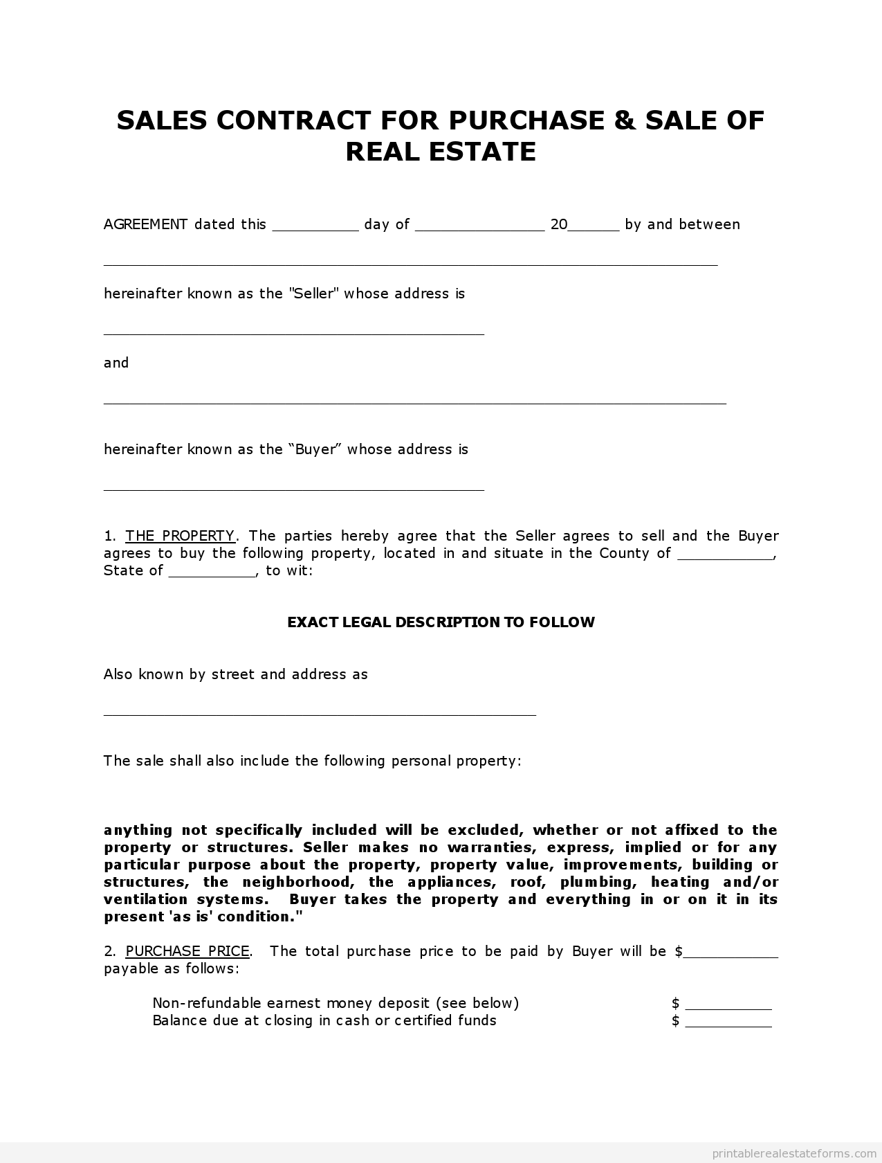 Printable Sample contract to sell on land contract Form – Simple Sales Contract Form