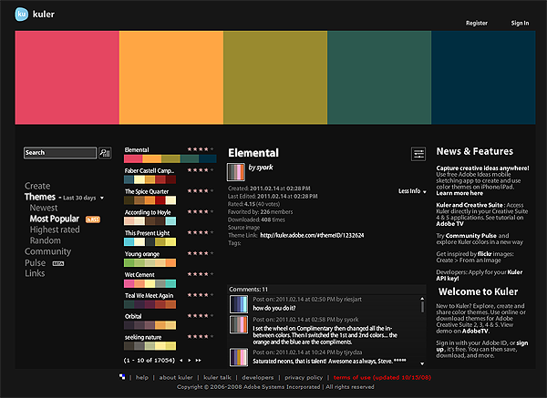 This is an adobe website that I could have some suggestions on color palettes.