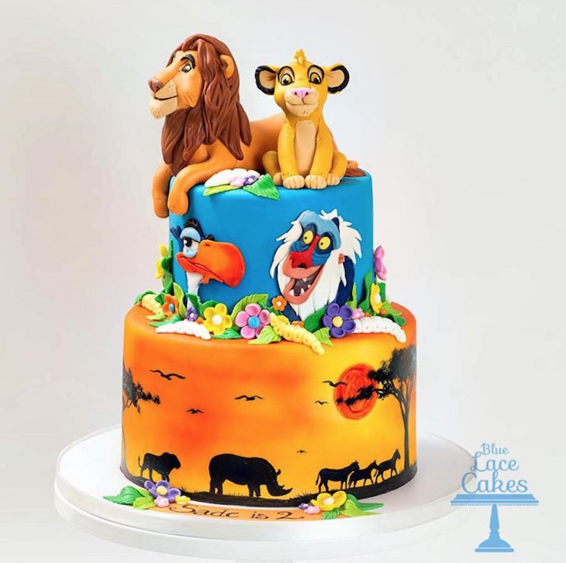 Superb Lion King Birthday Cake Made With Satin Ice Blue Lace Cakes Birthday Cards Printable Trancafe Filternl