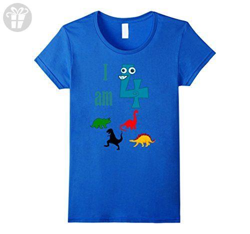 Womens I am 4 Four Birthday Dinosaurs T Shirt Bday Kids Boys Girls Small Royal Blue - Birthday shirts (*Amazon Partner-Link)