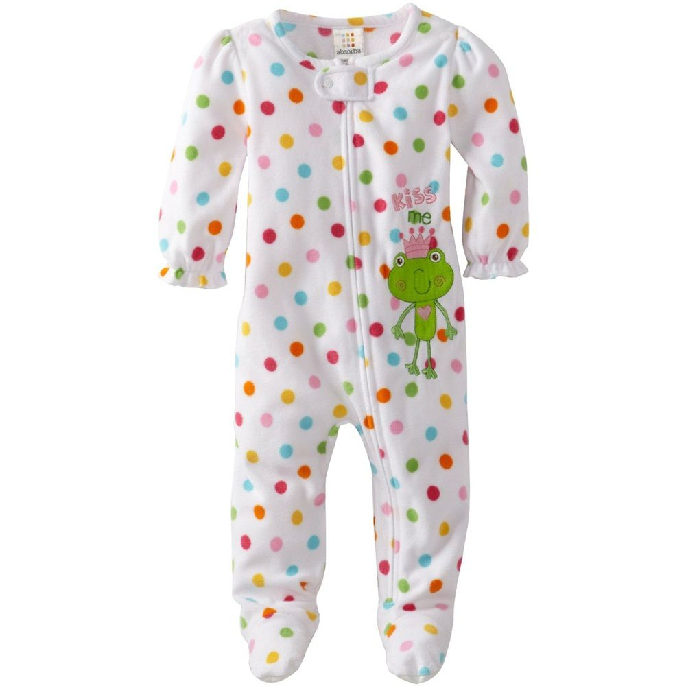 8ecbf8a199 Absorba Infant Baby Girls 1 Piece Polka Dot Frog Footie Blanket Sleeper  Strampler