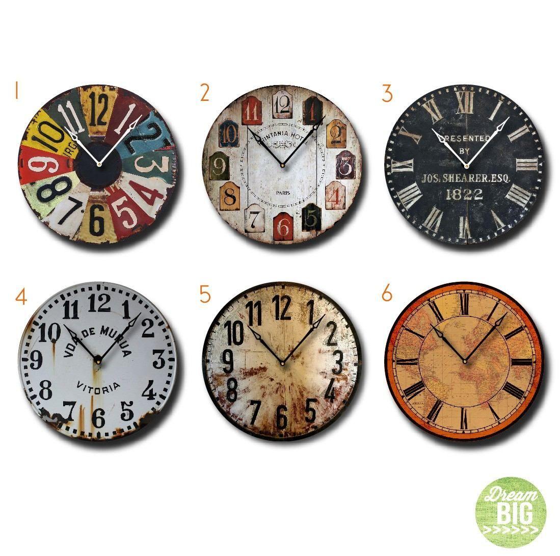 Reloj vintage deco de pared extra grandes en madera unicos - Reloj pared vintage ...