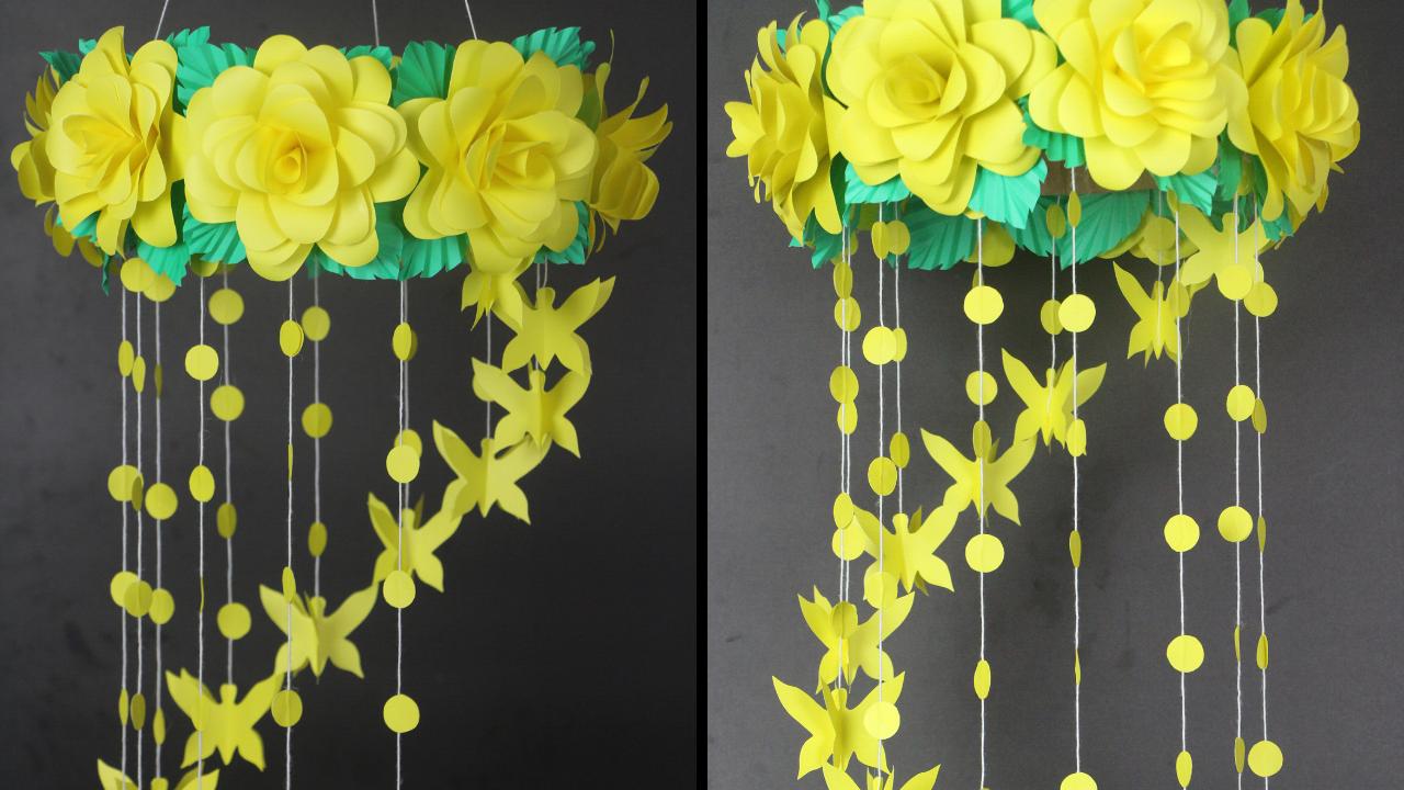 Diy Paper Flower Craft Wall Hanging Paper Craft Diy Wall Decor Idea Easy Paper Flower Art Paper Flower Art Paper Crafts Diy Paper Crafts