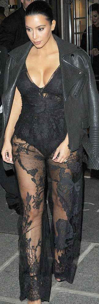 Kim Kardashian at Paris Fashion Week  wore a pair of edgy transparent trousers#kimkardashian #celebrityfashion