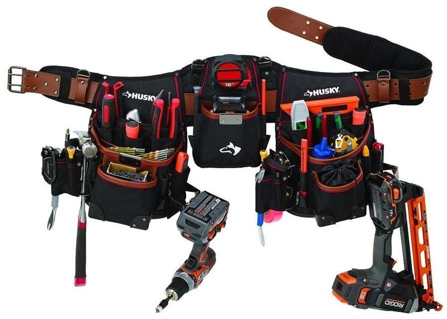 43414b2b28ca Husky Carpenters Construction 21-Pockets Pouches Full Apron With Tool Belt   Husky