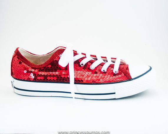 Red Sequin Canvas Converse Sneakers