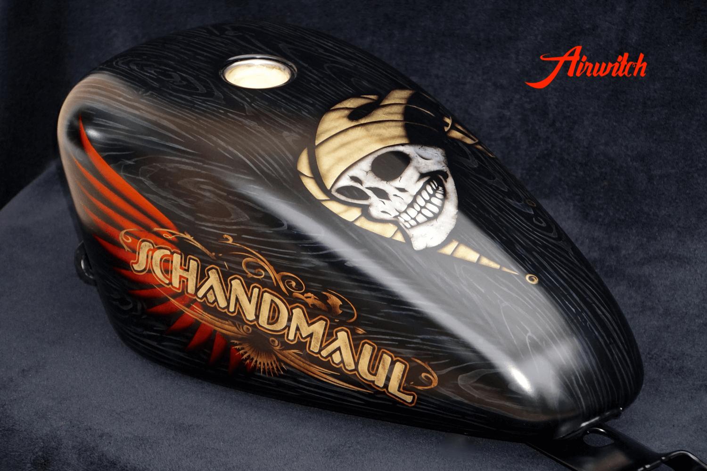 harley davidson sportster 48 tank goldleaf black wood holz custom