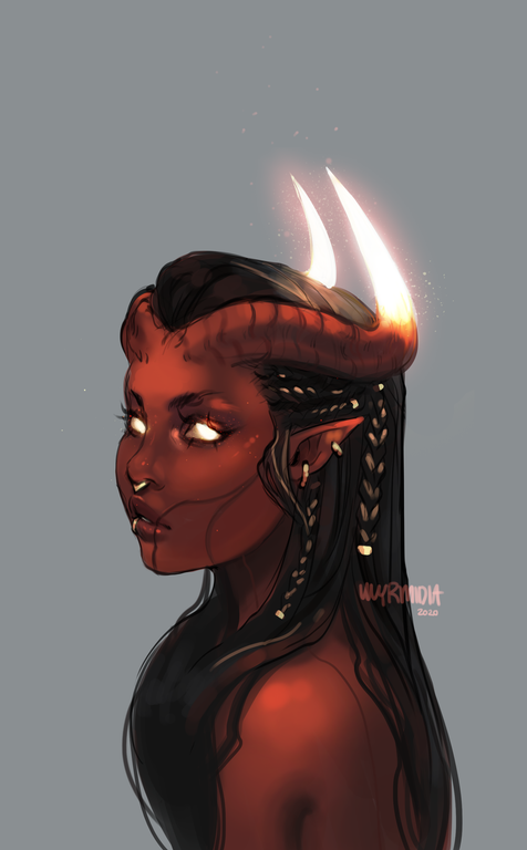 Photo of [OC][ART] Aeterna got her hair braided by an undercover resistance fighter in our last session. Baldurs Gate has lots of interesting personalities to offer so far :D