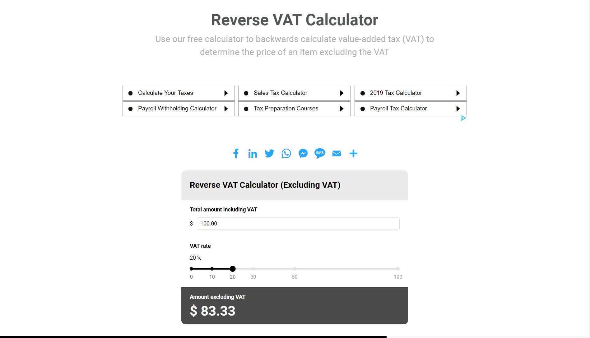 Reverse Vat Calculator Value Added Tax Calculator Free Online Tools