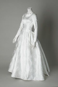 0e0b581ae1668 Wedding dress, 1960. White floral rayon brocade. This dress was worn by  Margaret Hawthorne for her wedding to Keith Blair at Prescot Parish Church  on 7 June ...