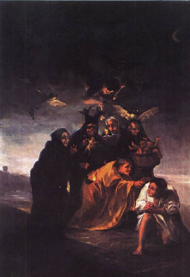 The Incantation  1797-98:  Goya (y Lucientes), Francisco (José) de (b. March 30, 1746, Fuendetodos, Spain--d. April 16, 1828, Bordeaux, Fr.), consummately Spanish artist whose multifarious paintings, drawings, and engravings reflected contemporary historical upheavals and influenced important 19th- and 20th-century painters.  He is known for his scenes of violence, especially those prompted by the French invasion of Spain.