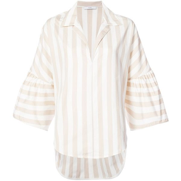 Tome striped wide sleeve blouse (€865) ❤ liked on Polyvore featuring tops, blouses, nude, striped top, white blouse, sleeve blouse, striped blouse and white cotton tops