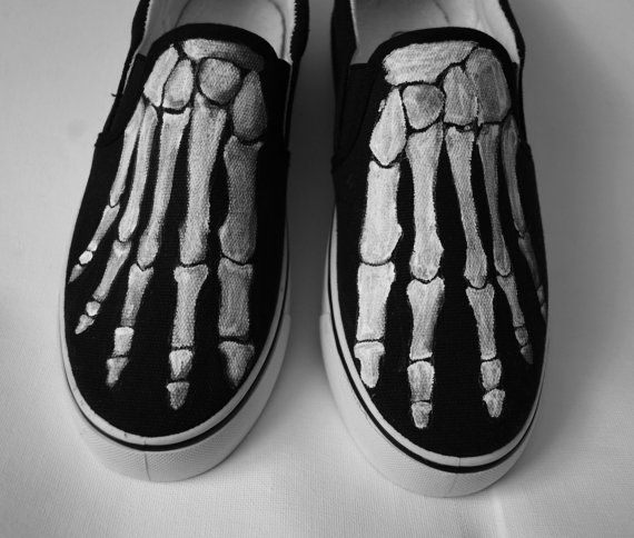 0bf6f4dd423014 Boney shoes - Personalized handpainted shoes - skeleton feet GLOW IN THE  DARK Acrylic paint on canvas shoes - Vans Slip on or Non brand Slip on  Every size ...