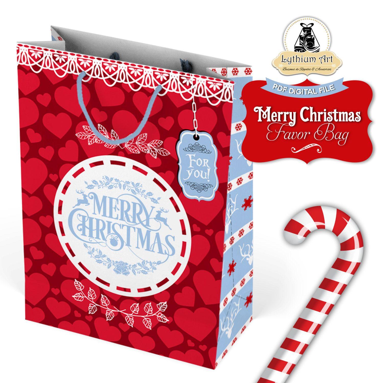 Merry christmas favor bag christmas gift bag printable bag merry christmas favor bag christmas gift bag printable bag christmas gifts gift negle Images