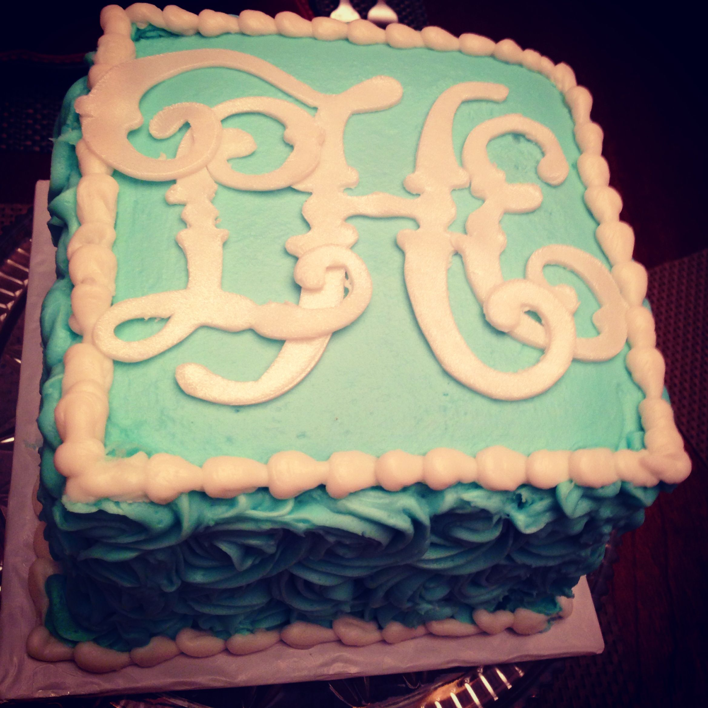 monogrammed birthday cake by chandra if its not