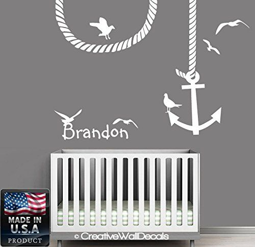 Wall decal vinyl sticker decals art decor design custom name baby letter anchor symbol gull nautical