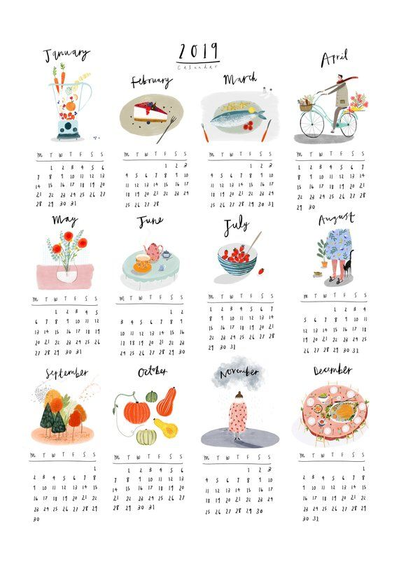 A Beautifully Illustrated 2019 Wall Calendar Art Print Each Month Has Been Illustrated Using My Original G สม ดออร แกไนเซอร สต กเกอร การจ ดระเบ ยบสม ดบ นท ก