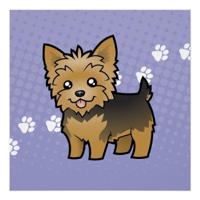Cute Yorkshire Terrier Clip Art Hair Colours Poster Cartoon Yorkie Yorkshire Terrier Yorkshire Terrier Terrier
