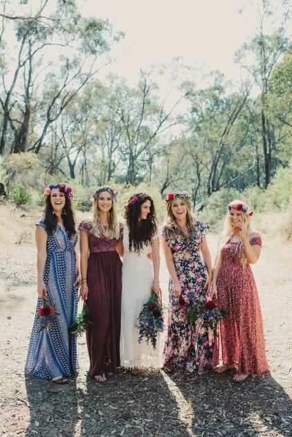 19 Bridal Parties Who Perfected The Mismatched Dress Trend Bridesmaid Dresses Boho Mismatched Bridesmaid Dresses Mismatched Bridesmaids