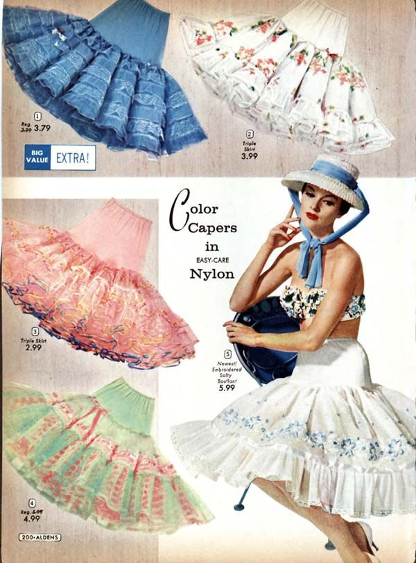 36a49a4d402 petticoats....we called the can cans. had them from 50 yards (of tulle) up  to 500 yards...skirt stood straight out with those