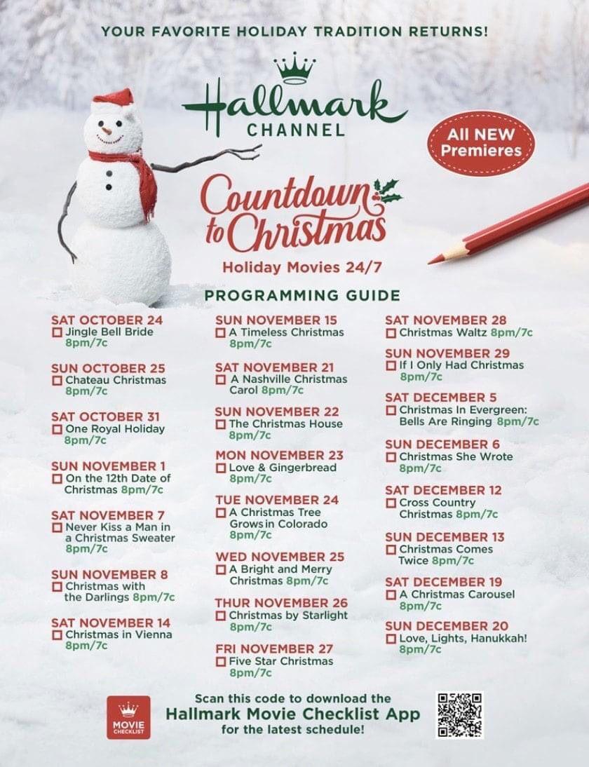 Hallmark Christmas Movie Schedule In 2020 Christmas Countdown Hallmark Christmas Hallmark Christmas Movies
