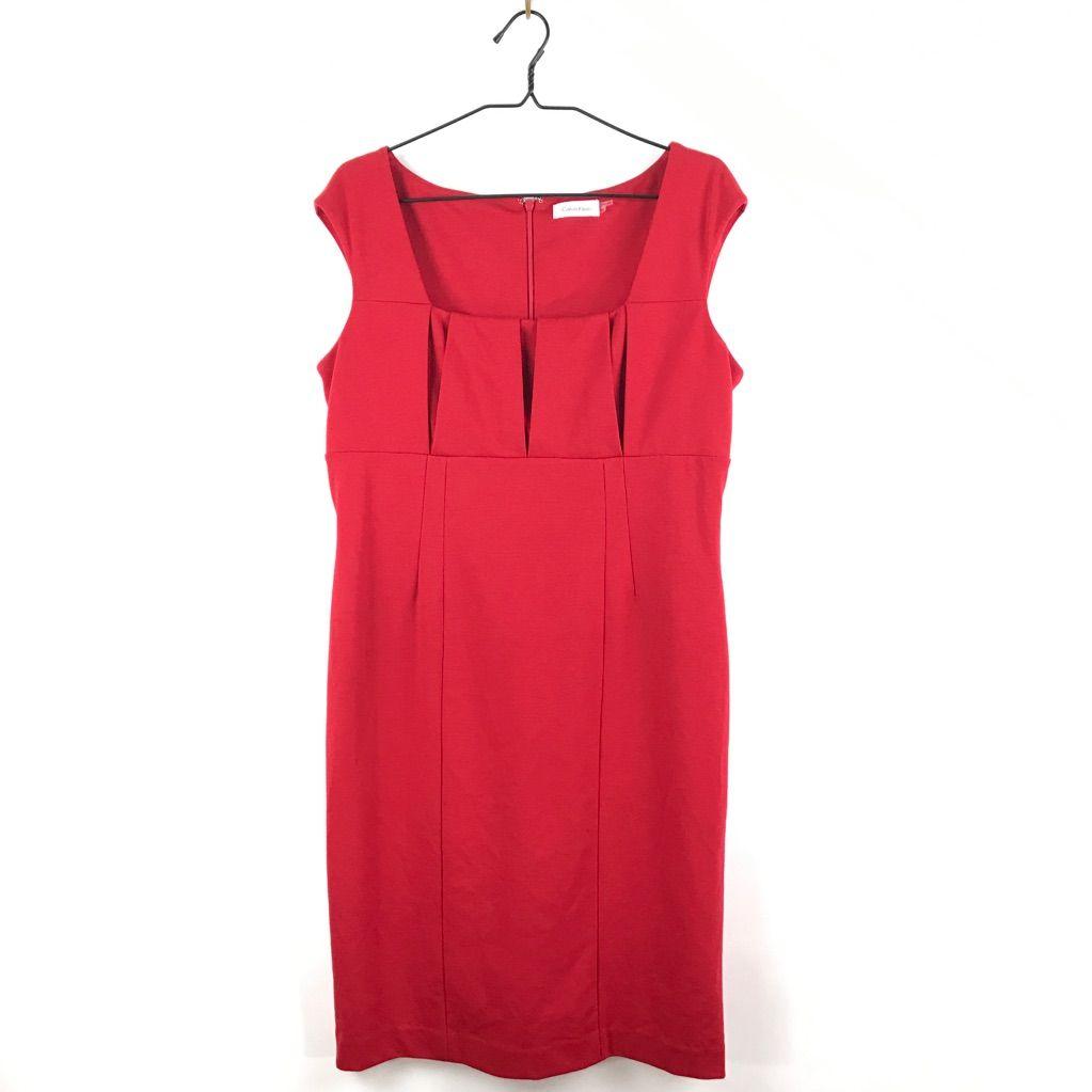 Calvin klein red empire waist sheath dress products