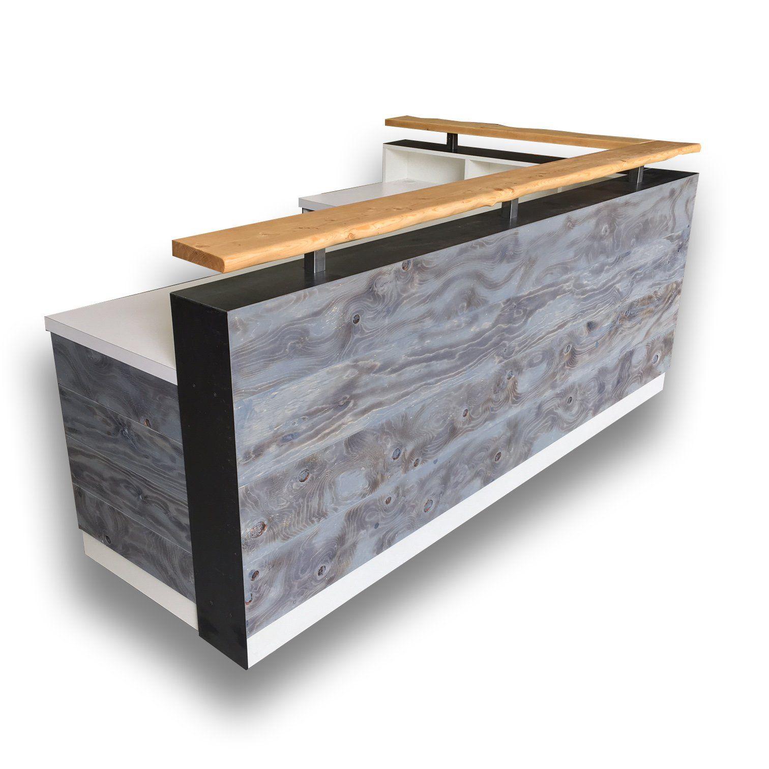 White L Shape Memphis Reception Desk Wood Reception Desk Reception Desk Rustic Reception Desk