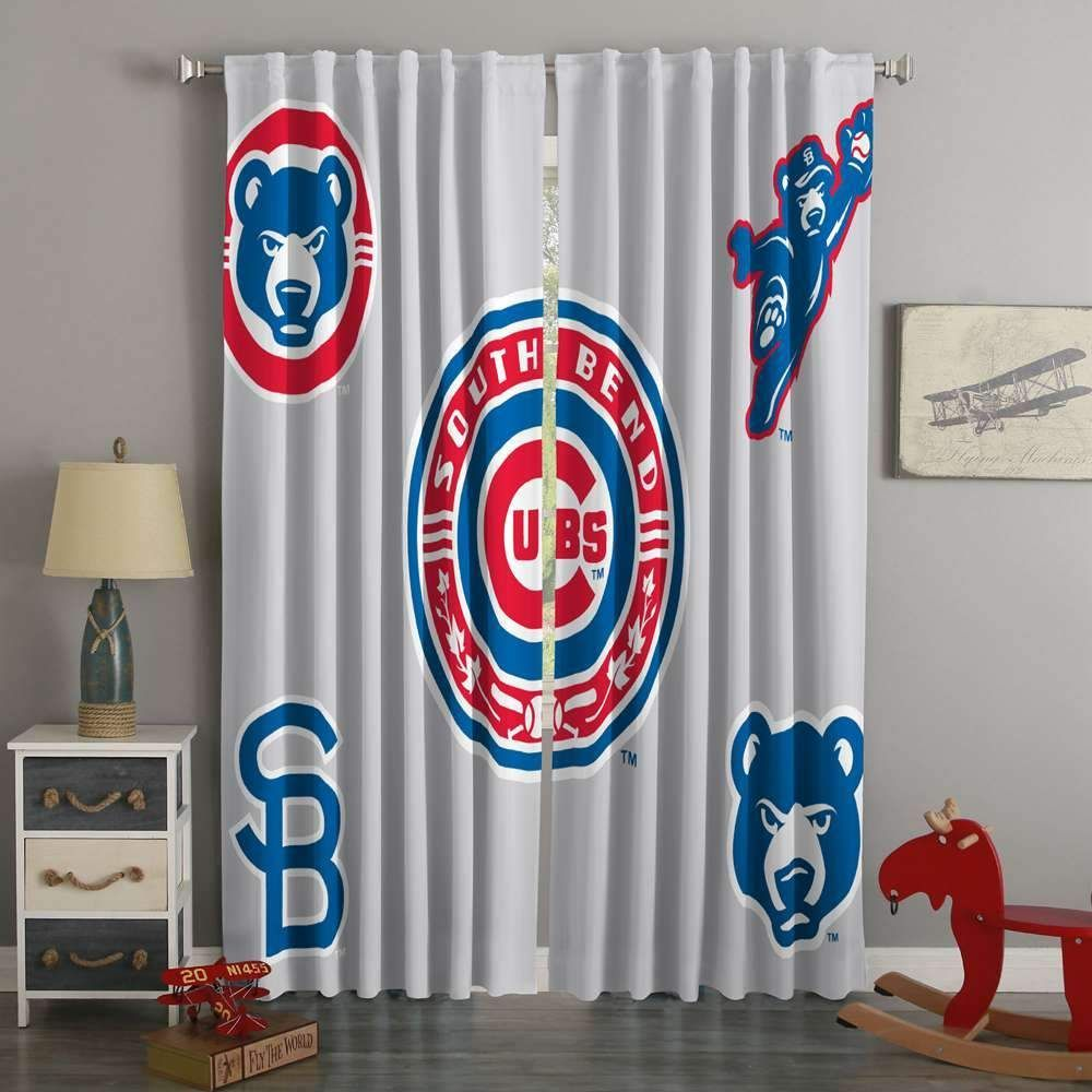 3D Printed Chicago Cubs Style Custom Living Room Curtains GreenCurtains