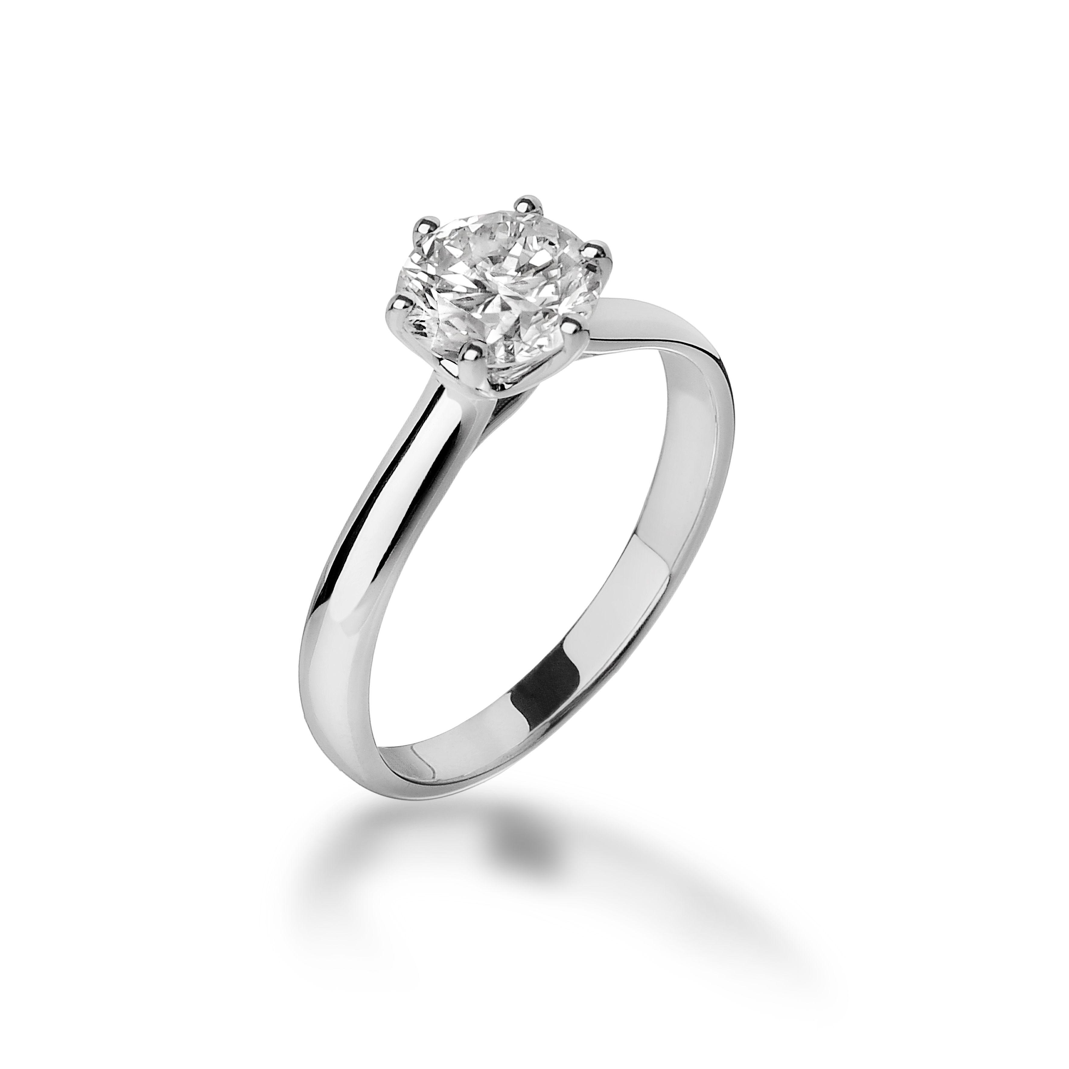 Francine Anello Solitario In Oro Bianco Anelli Con Diamanti Gioielli Anelli Di Fidanzamento