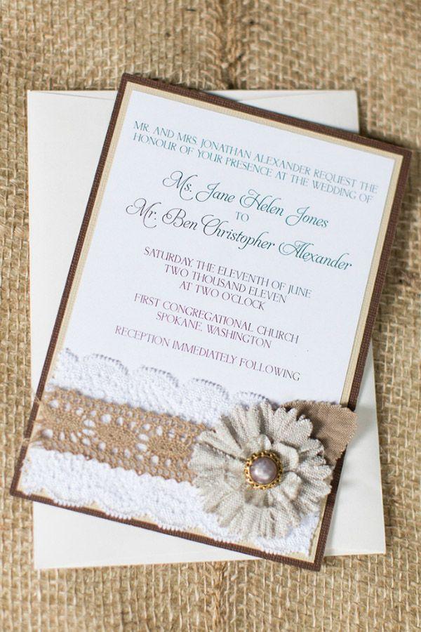 DIY Rustikal Hochzeit Hochzeitskarten Mit Spitze Leinen Und Hanfseil  Hochzeitsideen 2015: DIY Traumhafte Einladungskarten Und
