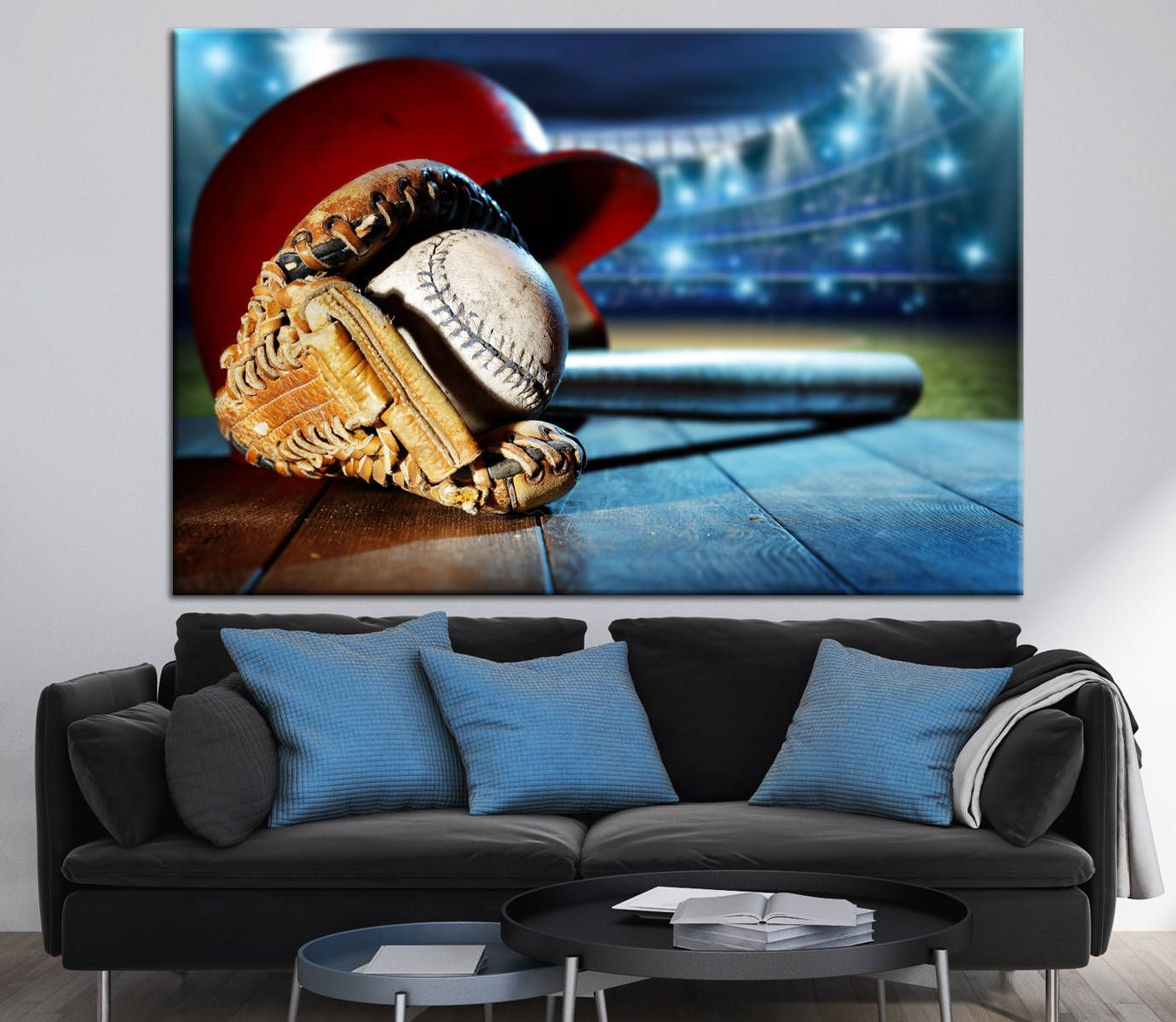Large Baseball Equipment Photography Print Baseball Fan Gift Boys Room  Decoration Wall Canvas Print Ready To