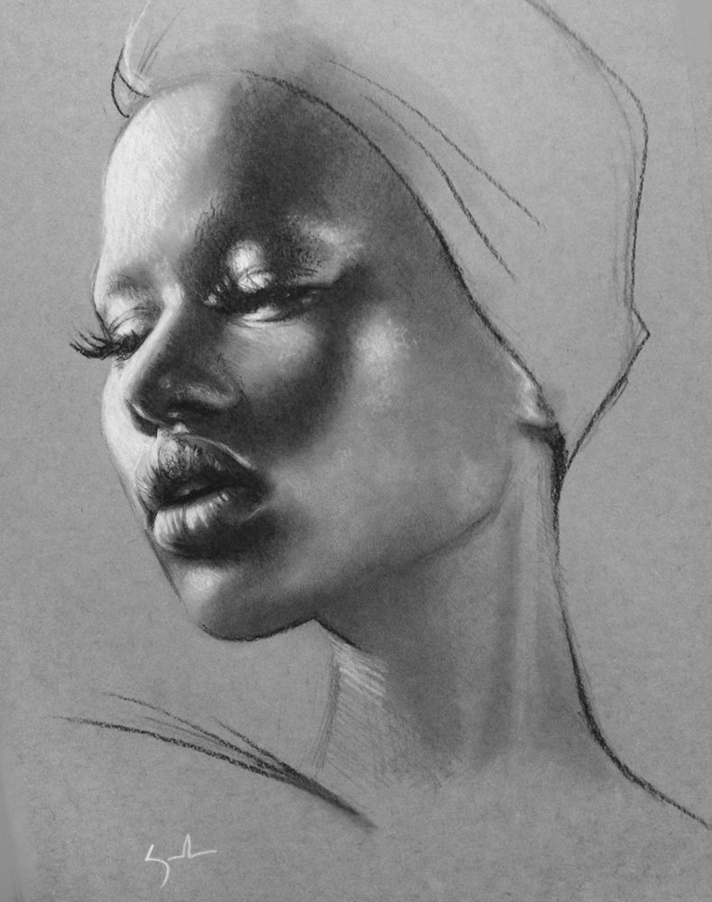 Artist kate zambrano figurative art female head african american black woman face portrait drawing loveart katezambrano com