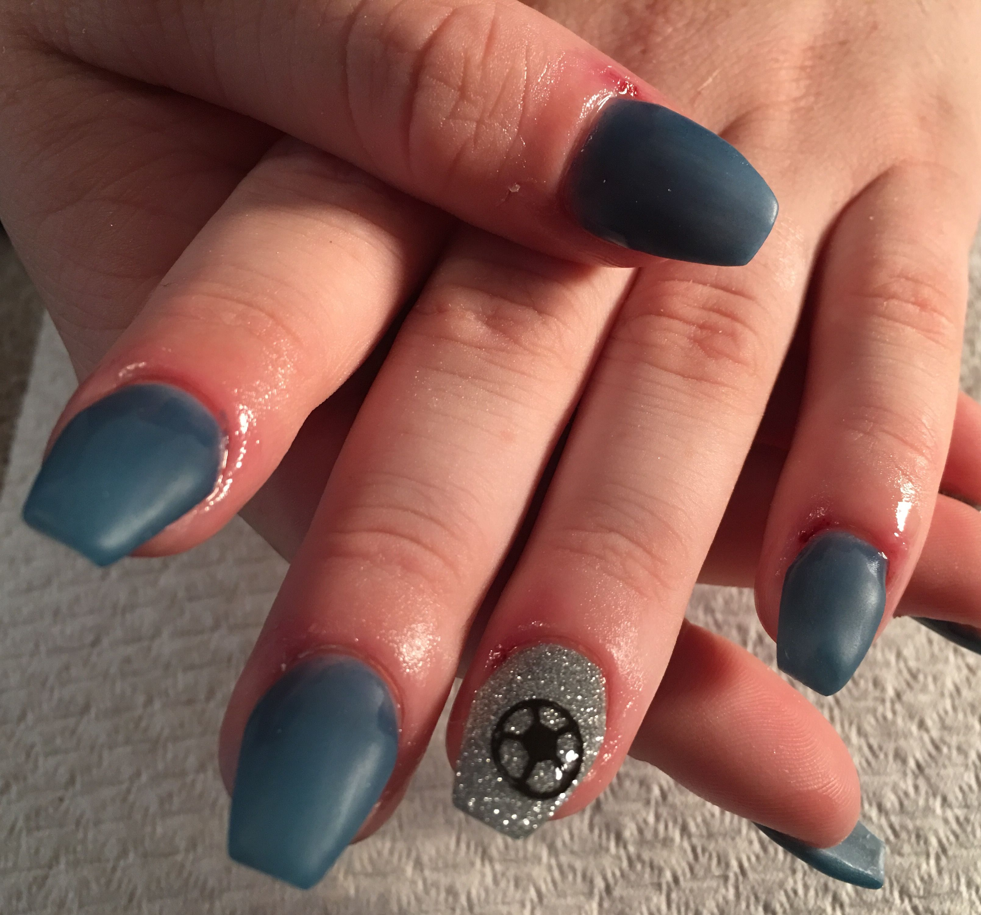 SNS over tips, coffin shape. Glitter feature nail with soccer ball ...