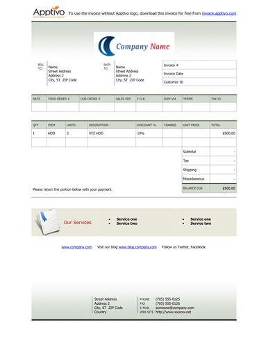 Green Gradient Billing Invoice Template Invoice Template Invoice Template Word Invoice Example