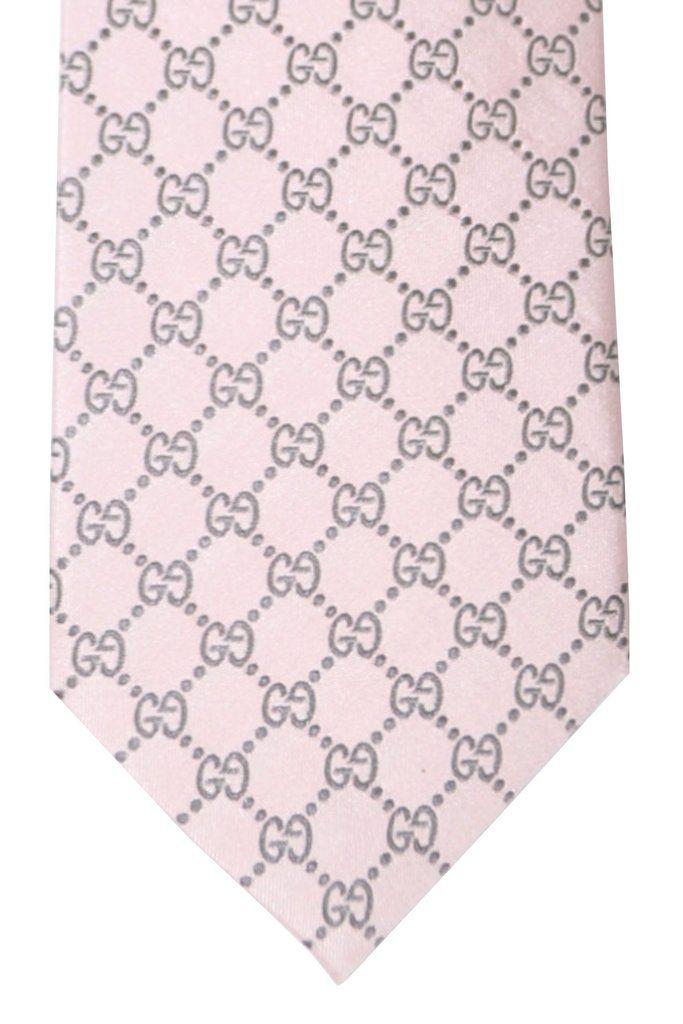 dabc61f914c40 Gucci Tie Pink Gray GG Logo Design