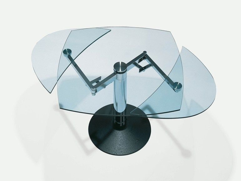 Extending glass table Oval table Titan Collection by Draenert | design Georg Appeltshauser