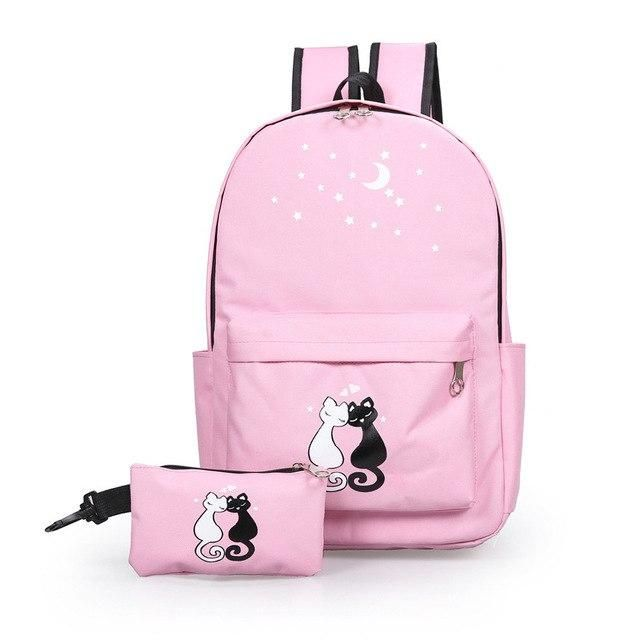 e5cda1092ea8 printing cute cat nylon women backpack schoolbag for girls teenage high  school back pack female college wind casual bagpack new Outfit Accessories  From ...