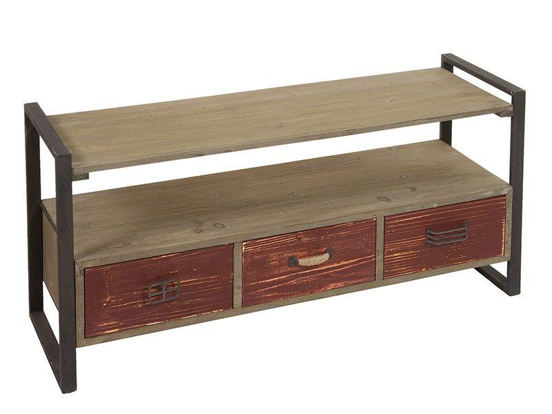 Mueble para TV madera y metal industrial | Muebles para TV ...