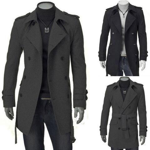 Autumn Winter Casual Outdoor Soft Fleece Coat Men Warm Squares Polar Fleece  Jacket - Loluxe | Trench coat men, Mens long jacket, Long coat men