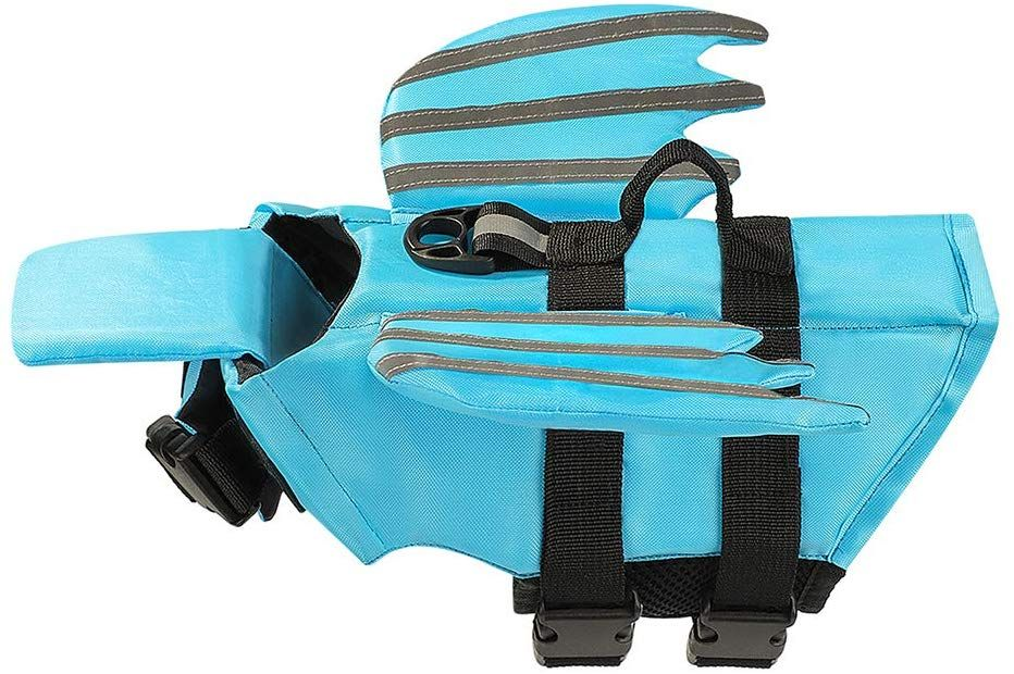Xnbor Dog Life Jacket, Luminous Angel Wings Pet Floatation