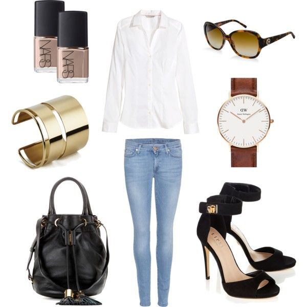 Untitled #2 by tilda-mononen on Polyvore featuring H&M, 7 For All Mankind, Lipsy, See by Chloé, Daniel Wellington, By Malene Birger, Versace and NARS Cosmetics